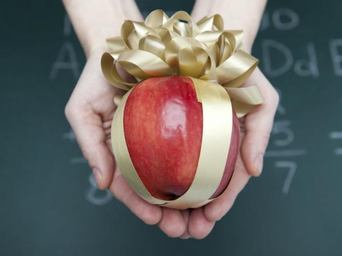 image of an apple as a teacher's present